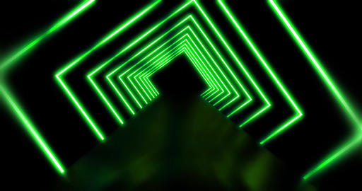 Neon lights a square futuristic abstract pattern - 4K loop Animation