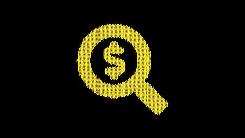 Symbol search dollar is knitted from a woolen thread. Knit like a sweater Animation