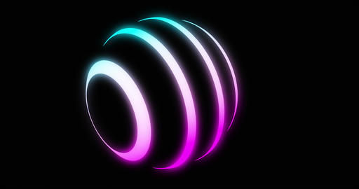 Glowing neon sphere in mauve and blue with shining lines - 4k loop Animation