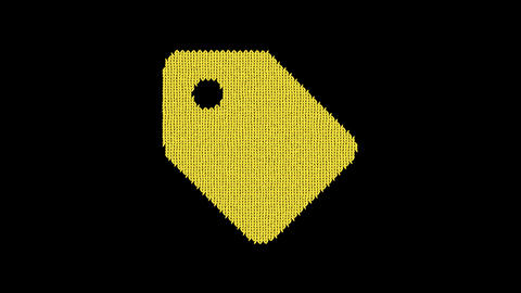 Symbol tag is knitted from a woolen thread. Knit like a sweater Animation