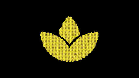 Symbol spa lotus is knitted from a woolen thread. Knit like a sweater Animation