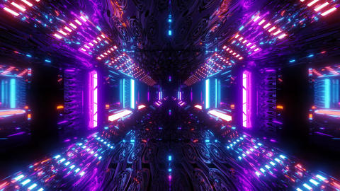 glowing sci-fi tunnel corridor with abstract eye texture 3d illustration live Animation