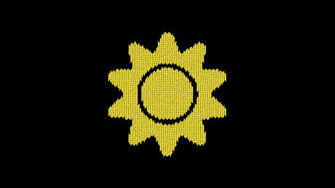 Symbol sun is knitted from a woolen thread. Knit like a sweater Animation