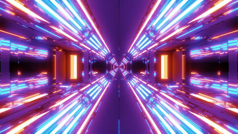 futuristic scifi hangar tunnel corridor with endless glowing lights 3d Animation