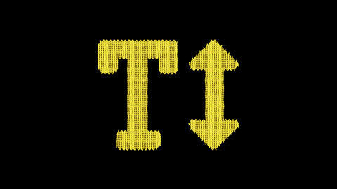 Symbol text height is knitted from a woolen thread. Knit like a sweater Animation