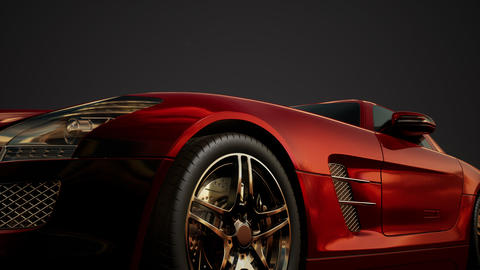 luxury sport car in dark studio with bright lights Live Action