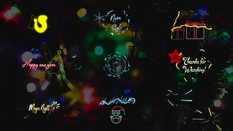 Christmas Neon Titles Motion Graphics Template
