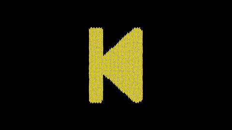 Symbol step backward is knitted from a woolen thread. Knit like a sweater Animation
