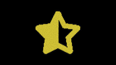Symbol star half is knitted from a woolen thread. Knit like a sweater Animation