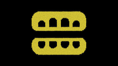 Symbol teeth open is knitted from a woolen thread. Knit like a sweater Animation
