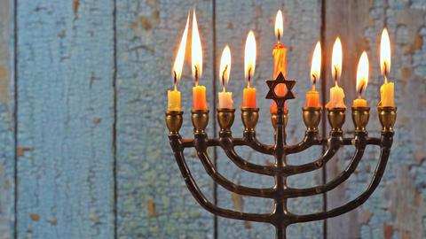 Hanukkah jewish holiday with menorah candelabra Live Action