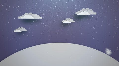 Animated close up blue sky, clouds and snowing landscape 애니메이션