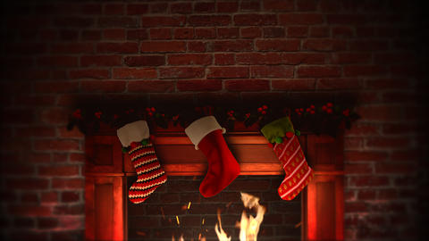 Animated closeup fireplace and gifts in the Christmas socks on bricks background 애니메이션