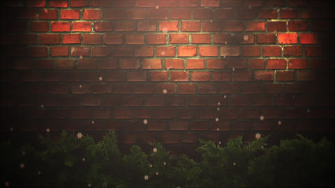 Animated closeup abstract bokeh and Christmas green tree branches on bricks background 애니메이션