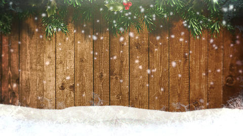 Animated closeup white snowflakes and wood background 애니메이션