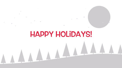 Animated close up Happy Holidays text, Christmas trees and moon on white background 애니메이션