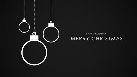 Animated close up Merry Christmas text, white balls on black background 애니메이션