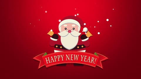 Animated closeup Happy New Year text, Santa Claus with bells 애니메이션