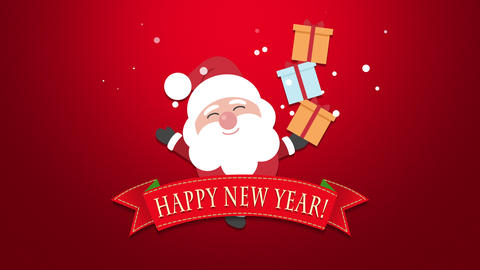 Animated closeup Happy New Year text, Santa Claus with gift boxes 애니메이션