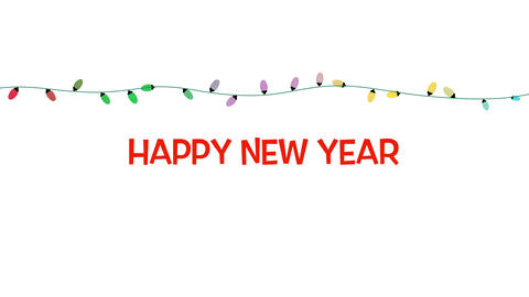 Animated closeup Happy New Year text, colorful garland on white background 애니메이션