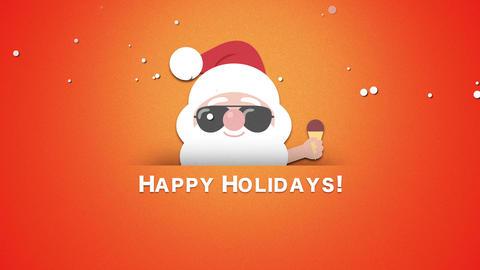 Animated closeup Happy Holidays text, Santa Claus with ice cream Animation