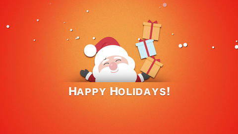 Animated closeup Happy Holidays text, Santa Claus with gift boxes Animation