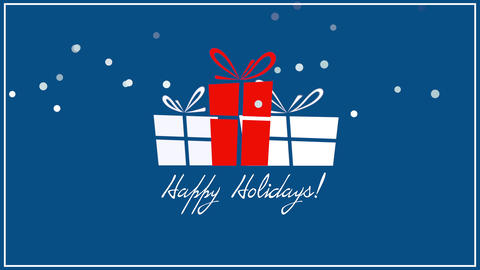 Animated close up Happy Holidays text, three gift boxes on blue background Animation