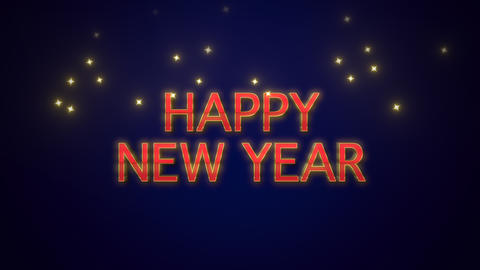 Animated closeup Happy New Year text on blue background 애니메이션