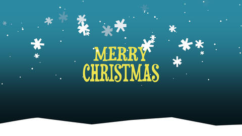Animated closeup Merry Christmas text on snow background Animation