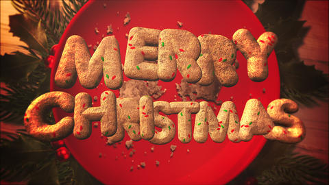Animated closeup Merry Christmas text, candy and Christmas pie on wood background 애니메이션