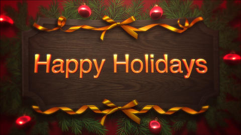 Animated closeup Happy Holidays text, red balls and green branch on wood background 애니메이션