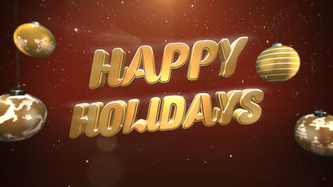 Animated close up Happy Holidays text, white snowflakes and gold balls on retro background Animation