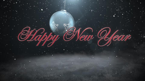 Animated closeup Happy New Year text and white snowflakes, red balls on dark background 애니메이션