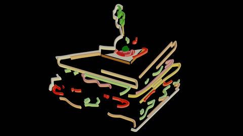 Sandwich Line Art Effect GIF