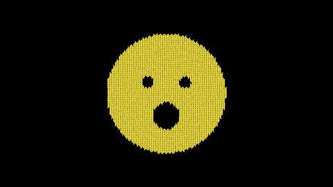 Symbol surprise is knitted from a woolen thread. Knit like a sweater Animation