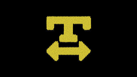 Symbol text width is knitted from a woolen thread. Knit like a sweater Animation