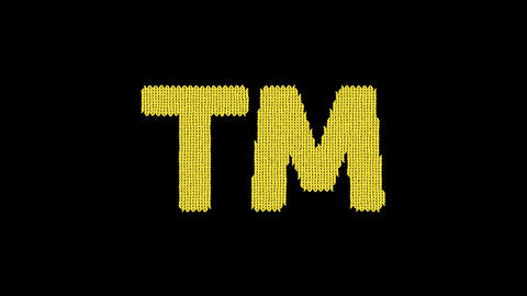 Symbol trademark is knitted from a woolen thread. Knit like a sweater Animation