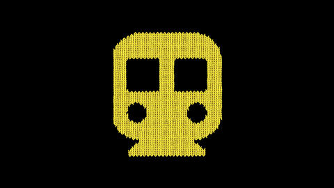 Symbol subway is knitted from a woolen thread. Knit like a sweater Animation