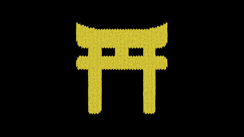 Symbol torii gate is knitted from a woolen thread. Knit like a sweater Animation