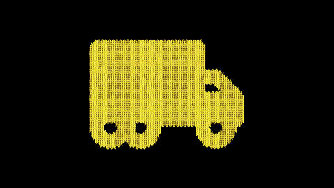 Symbol truck moving is knitted from a woolen thread. Knit like a sweater Animation