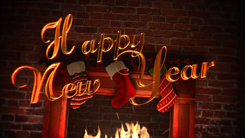 Animated closeup fireplace, gifts in the Christmas socks and Happy New Year text on bricks 애니메이션