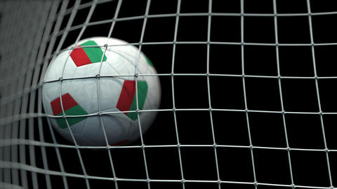 Ball with flags of Bulgaria hits goal. 3D animation GIF