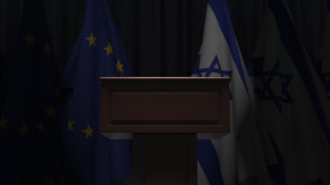 Flags of Israel and the European Union at international meeting, 3D animation GIF