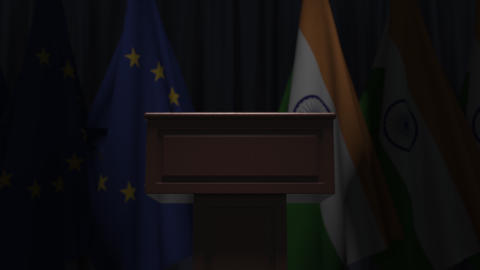 Row of flags of India and the European Union EU and and speaker tribune GIF