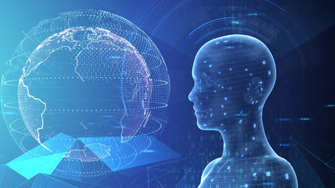 AI artificial intelligence digital network technologies 19 3 Human 7 blue 3b 4k CG動画