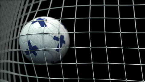 Ball with flags of Finland hits goal. 3D animation Live Action