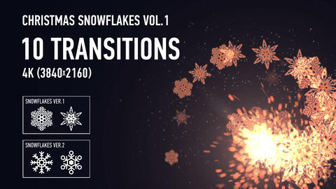4K Christmas Snowflakes Transitions vol.1 - Gold Animation