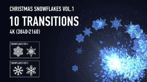 4K Christmas Snowflakes Transitions vol.1 - Blue Animation