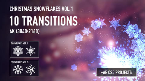 Christmas Snowflakes Transitions vol 1 After Effectsテンプレート