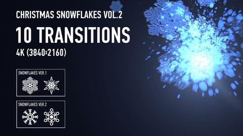 4K Christmas Snowflakes Transitions vol.2 - Blue Animation